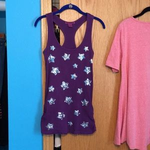 Love by design purple ribbed tank stars sequins